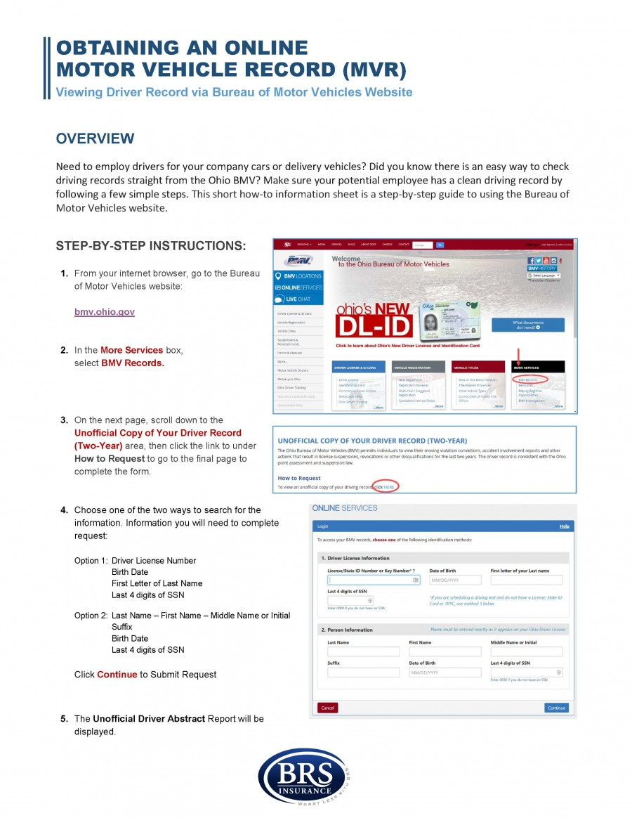 Online Motor Vehicle Record Instructions